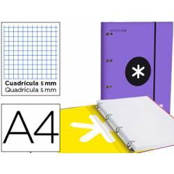Carpeta con recambio Antartik A4 4 anillas 40 mm de Cartón forrado color Violeta con solapa
