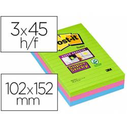Post it ® Bloc de notas adhesivas Super sticky quita y pon 102x152 mm Neon rayado Pack de 3 unidades verde/rosa/azul