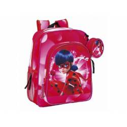 CARTERA ESCOLAR SAFTA LADYBUG MARINETTE MOCHILA JUNIOR ADAPTABLE A CARRO 320X380X120 MM