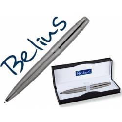 Bolígrafo Belius Goreme 1mm Tinta Azul Cromado con Adornos Mate en Estuche