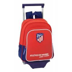 Mochila Escolar Atlético de Madrid 34x27x10 cm Coraje Con Ruedas