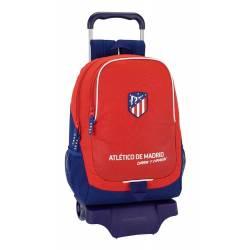 Mochila Escolar Atlético de Madrid 43x33x15 cm Coraje Con Ruedas