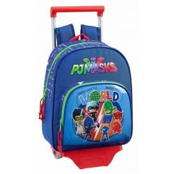 CARTERA ESCOLAR SAFTA CON CARRO PJ MASKS WORLD 270X340X100 MM