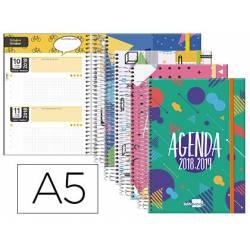 Agenda Escolar 18-19 Dos Días Vista DIN A5 Espiral Bilingüe Liderpapel Bassic con Goma No se puede elegir color