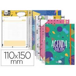 Agenda Escolar 18-19 Día Vista 110x150mm Espiral Bilingüe Liderpapel Classic con Goma No se puede elegir color