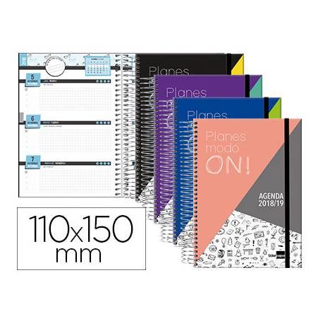 Agenda Escolar 18-19 Mini Semana Vista 110x150mm Espiral Bilingüe Liderpapel College con Goma No se puede elegir color