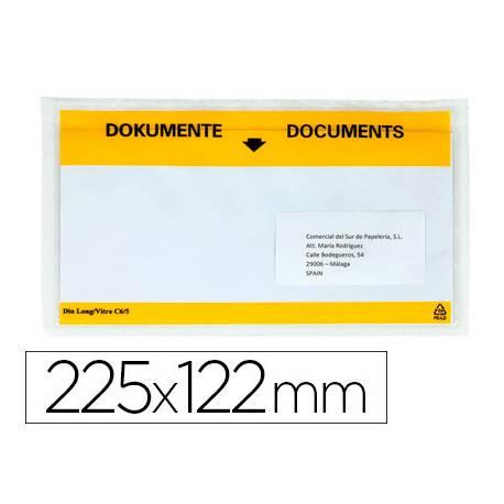 Sobre autoadhesivo Q-connect portadocumentos 225x122 transparente Paquete de 100