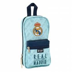 Plumier Real Madrid 23x12x5 cm con 4 portatodos Azul