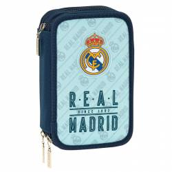 Plumier Real Madrid 20,5x12,5x6 cm con triple cremallera 41 piezas Azul