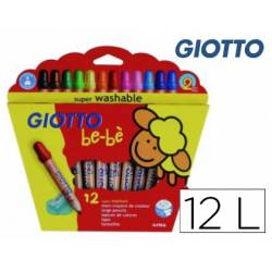 Lapices de Colores Giotto Super Bebé Caja de 12 Colores Surtidos + Sacapuntas