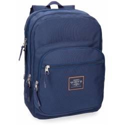 Mochila Escolar Pepe Jeans 44x30x15 cm de Poliester Cross Doble compartimento Azul Adaptable a carro