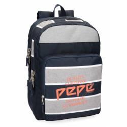 Mochila Escolar Pepe Jeans 44x31x15cm de Poliester Pierre Doble compartimento Adaptable a carro
