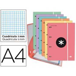 Carpeta con recambio Antartik A4 4 anillas de 25 mm de Carton forrado colores surtidos