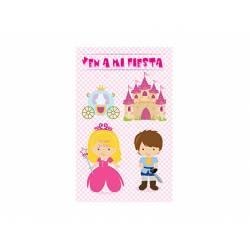 Invitacion para Fiesta Arguval para Niños Troquelada Blister de 8 unidades Princesa