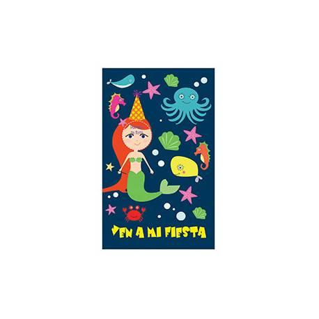 Invitacion para Fiesta Arguval Niños Troquelada Blister de 8 unidades Sirena