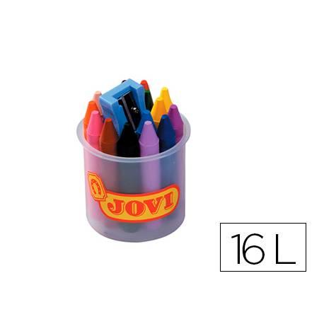Lapices cera Jovi bote de 16 unidades colores surtidos con sacapuntas
