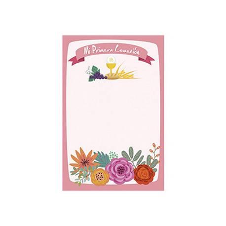 Estampa Comunion Arguval Personalizable Paquete de 24 unidades Niña Flores