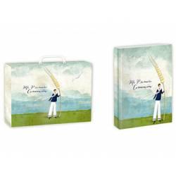 Libro de Recuerdo Comunion + Maletin Arguval 27x34x5 cm Niño con Espiga