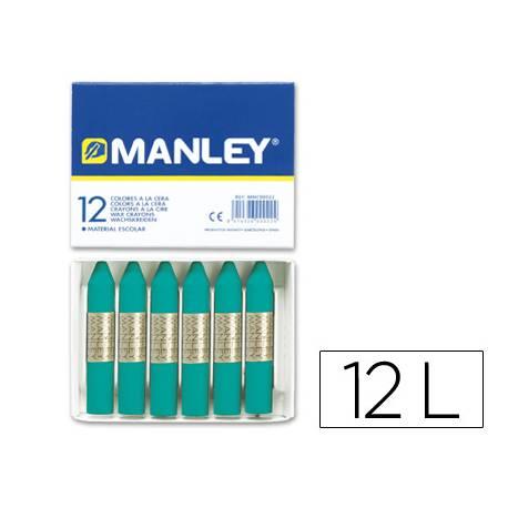 Lapices cera blanda Manley caja 12 unidades verde azulado