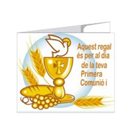 Sobre billetero Comunion Arguval 11x8,5 cm Catalan