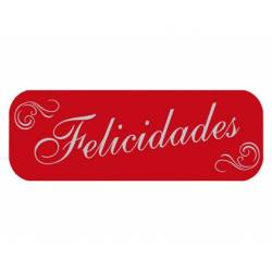 Etiqueta para regalo Arguval Felicidades Rollo de 250 unidades Color Rojo