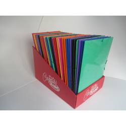 CARPETA GOMAS SOLAPAS CARTON PLASTIFICADO BRILLO SARO FOLIO AZUL