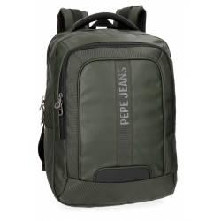 """Mochila para portátil Pepe Jeans 47x31x11 cm de piel sintética Bromley Verde 15,6"""" doble compartimento"""