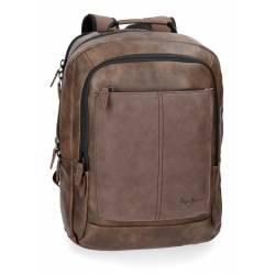 """Mochila para portátil Pepe Jeans 47x31x11 cm de piel sintética Cranford Marrón 15,6"""" doble compartimento"""