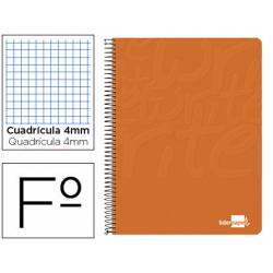Cuaderno Espiral Liderpapel Write Tamaño Folio Cuadrícula 4 mm de Color Naranja