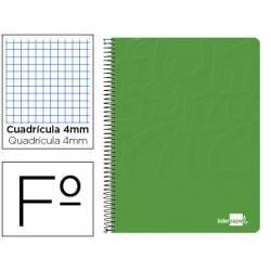 Cuaderno Espiral Liderpapel Write Tamaño Folio Cuadrícula 4 mm de Color Verde