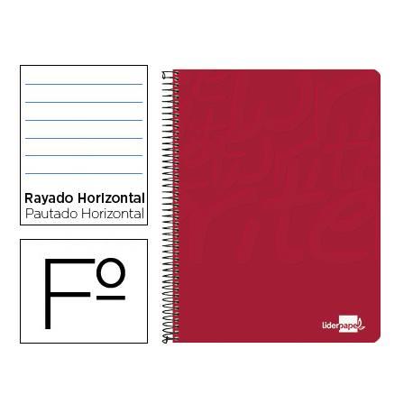 Cuaderno Espiral Liderpapel Write Tamaño Folio Rayado Horizontal Color Rojo